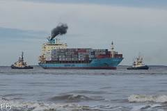Maersk Ahram (frisiabonn) Tags: vehicle ship water wirral liverpool england uk britain marine vessel river mersey merseyside sea shore waterfront maritime boat outdoor maersk ahram container cargo tug tugboat svitzer bidston sarah