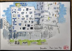 Bruxelles, Place Jean Rey (chando*) Tags: croquis sketch watercolor aquarelle inkandwash encre urbansketching