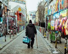 Where are you going? (EyeOfTheLika) Tags: ifttt 500px street life poeple narrow style lika paris old man elderly alley graffiti grafitti walk back sombre homeless help walking stick art belleville