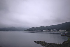 Lake Kawaguchi (Flutechill) Tags: japan kawaguchiko lakekawaguchiko mountain nature landscape water fog lake scenics sky outdoors hill cloudsky sea forest travel beautyinnature mist tree mountainrange blue dusk