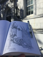 Shadow and Lamp (schunky_monkey) Tags: illustration pleinair art journal sletchbook drawing draw sketching sketch penandink ink pen fountainpen entry building architecture light lamp gothic emoryuniversity