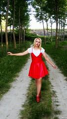 Woodland (KurenaiSutcliff) Tags: model girl blonde blondegirl lady pinup pin up sexy makeup red reddress dress elegant photoset photoshoot photo blondephoto redlips lolita woman wood wild woodland green redshoes