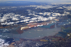 South Bay Salt Ponds on a Cloudy Day (fksr) Tags: aerialphotography sanfranciscobay southbay saltponds redwoodcity newark colorful clouds landscape california