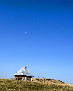 Mountain, cabin, horizon....and the moon...