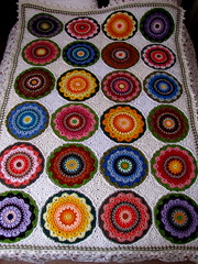 Crochet Blanket (Patchwork Daily Desire) Tags: blanket mandala magnolia blocks circle crafts crochet patchworkdailydesire blue red vacation diamonds giftideas