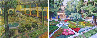 The Courtyard of the Hospital of Arles by Van Gogh 1889 and Anthony D. Padgett 2017