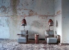 (Scuffles33) Tags: kodak portra400 mediumformat 120film mamiya645 hospital abandoned hairdresser chairs