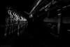 Ellen - Long exposure strobe - DSC1437 (cleansurf2 - Portrait portfolio) Tags: longexposure lightpainting black beautiful beauty background bw white montone train steampunk steam lowkey lines leadinglines woman portrait people pretty photographer pose goth girl gritty grime dark drama disturbed decay darkdeviations darkness