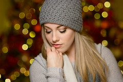 Kristina - Studio Portrait (Winter look) (bonavistask8er) Tags: nikon d7100 85mm model portrait beauty fashion winter christmas festive bokeh balls lights tree strobist yn560 sweater hat scarf