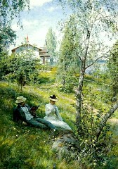 Johan Krouthén  – private collection. Villa Björkbacken in Summer (1890 or 1892) (lack of imagination) Tags: 7001000 blog johankrouthén landscape portrait privatecollection trees villa