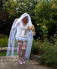 Yes?! (chantal_fouet) Tags: tv cd tg stockings nylon satin bride sissy veil outdoor