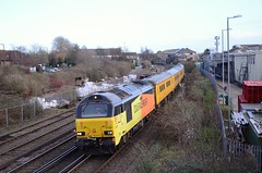 67027 tnt 67023 work 1Q52 Eastleigh Works to Eastleigh Works passing Chichester stone term. First time these locos have visited the Coastway on test trains (Ian G Hunt UK) Tags: class67 colas testtrain coastway chichester