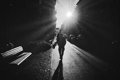 burning skies (matthias hämmerly) Tags: switzerland candid street streetphotography shadow contrast grain ricoh gr black white bw monochrom monochrome city town urban blackandwhite strasse people monochromphotography dark zürich zuerich sun sunbeam light langstrasse silhouette woman bag late evening cold winter landstrase einfarbig personen
