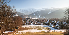 Garmisch-Partenkirchen (redfurwolf) Tags: garmischpartenkirchen bavaria germany alps field trees mountains landscape nature city outdoor outdoors snow winter sky sunshine forest redfurwolf sonyalpha a7riii sel2470f28gm way buildings houses church