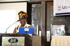 Nafula Wafula reads a poem on gender equality at the launch of the Gender Audit Report of the 2017 General Elections in Kenya. (USAID Kenya and East Africa) Tags: fida gender women elections kenya nationaldemocraticinstitute ndi usaid ukaid danida genderauditreport countygovernments