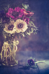 Anemone season (Ro Cafe) Tags: anemones stilllife flowers setup vintage romantic rustic bouquet textured nikkormicro105f28 nikond600