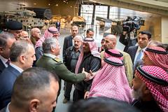 جلالة الملك عبدالله الثاني، القائد الأعلى للقوات المسلحة الأردنية، مع مجموعة من المتقاعدين العسكريين خلال افتتاح متحف الدبابات الملكي (Royal Hashemite Court) Tags: kingabdullahii royal tank museum jordan متحف الدبابات الملكي الأردن