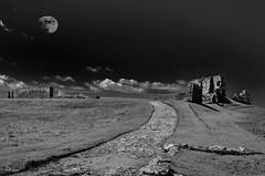 Moonlight at Duffus Castle (Tom McPherson) Tags: moon supermoon night dark castle relic ancient duffus ruin blackwhite mono sky clouds elgin moray explore urban urbex path grass pathway church historic abbey