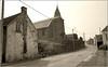 La vieille église (Jean-Marie Lison) Tags: v700 scannégatif honnelles angreau village route maison église noiretblanc nb monochrome