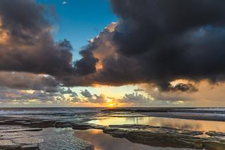 Overcast and Cloudy Sunrise Seascape