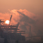 Misty sunrise over Waltershofer Hafen thumbnail