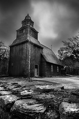 The Old Church, Skansen, Stockholm, Sweden (King Grecko) Tags: 24105 5dmk3 bw buildingexterior church cloudsky outdoors skansen stockholm sweden traditional travel traveldestinations abandoned background black blackandwhite canon canon5dmk3 canoneos5dmk3 contrast culture history lightroom white