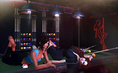 Just being ourselves, and enjoying every minute (Alexa Maravilla/Spunknbrains) Tags: exxess tetra collabor88 anxiety buildersbox 22769 romp zerkalo secondlife blogger indoors girls models woman pooltable model sexy people home decor furniture