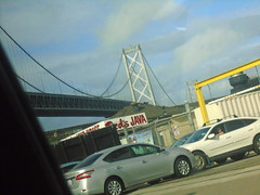 DSC01298 (classroomcamera) Tags: san francisco bay area bridge oakland metal beam beams landmark car cars parking parked park lot concrete outside outdoors yellow urban city baseball game