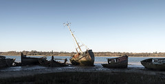 Left to rot (David Feuerhelm) Tags: river nikkor wideangle suffolk pinmill orwell sky wreck wrecks boats light mast nikon d750 1635mmf4 abandoned
