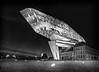 Port house Antwerp. (rudi.verschoren) Tags: architecture black white antwerp artistic outdoor flanders belgium europe building fire house shape diamond glass