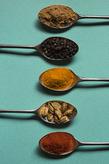 """Pepper and spice and all things nice (alideniese) Tags: """"crazytuesdaytheme"""" 7dwf spices food foodphotography shotfromabove lookingdown spicy alideniese closeup teaspoons spoons powders groundspice peppercorns cardamom cardamon cumin turmeric chilli colourful colours orange red green aqua brown spiceupmylife light shadow"""