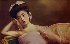 Otomaru in Pink 1910s (Blue Ruin 1) Tags: geigi geiko geisha sokuhatsuhairstyle shinbashi shimbashi tokyo meijiperiod taishoperiod 1910s otomaru postcard