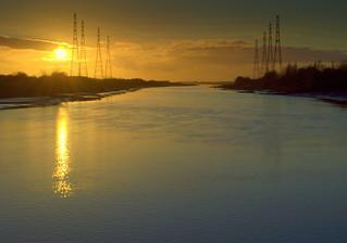 Sunset through the pylons
