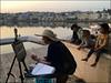 Pushkar - Le Lac (Christian Lagat) Tags: inde india rajasthan pushkar lac lake femme woman peintre painter enfants children filles girls smartphone sacmonoprix iphonese phone