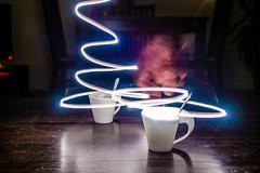Cafe cups light rails (grand Yann) Tags: cup mug tasse cuisine food lightpainting lighttrails longexposure