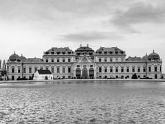 Schloss Belvedere Wien (schasa68) Tags: wien vienna austria österreich schloss architecture gebäude building schwarzweis bw blackandwhite wasser water city trip sehenswürdigkeit sightseeing sky himmel architektur