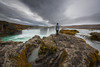 Waterfall of the Gods (Mike Ver Sprill - Milky Way Mike) Tags: waterfall gods godafoss travel iceland icelandic explore person woman michael ver sprill mike versprill nikon d810 1424 nikkor north nature landscape rocky rocks storm drama dramatic