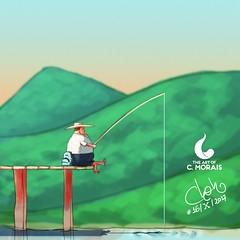 Inktober Day 16, 'Sunday' (Cleon Morais) Tags: fat artwork digitalart digitalpainting fishing illustration mountains rest sunday weekend inktober2017 day16