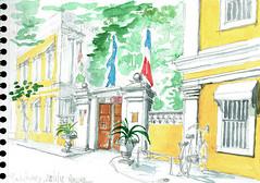 Pondichéry, Puducherry, India, devant le lycée français (Croctoo) Tags: croctoo croctoofr croquis crayon aquarelle watercolor ville india inde pondichéry