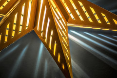 Starlight star bright... (Vanessa wuz here) Tags: 90mm macro tamaron copyrightvanessabartosek lamp ikea glow shadows lighting yellow blue macromadness gold light unusal undertones star reflections experiment