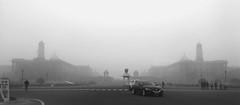A presidential winter (Debmalya Mukherjee) Tags: rastrapatibhavan presidentofindia indianpresident newdelhi delhi architecture fog winter blackandwhite debmalyamukherjee motog3
