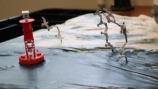 Harbor bouy and gull detail -SS Naushon Diorama Project, Rex Stewart