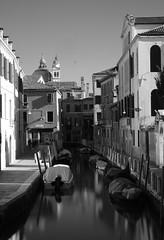Fondamenta Venier dai Leon (Hoffmann636) Tags: venedig venice venezia italy italia cityscape blackandwhite bluehour bw bridge boat fineart fujix fujixpro2 gitzo leefilters monochrome
