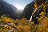 Gold (yoshy!) Tags: landscape nature outdoors switzerland schweiz tessin ticino morning sunrise waterfall cascade river valley mountain mountains autumn golden sunstar glow trees