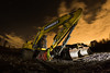 Night Work (Rob Pitt) Tags: jcb wirral cheshire orange plant hire night merseyside samyang fisheye 8mm stars flannery 750d