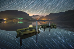 D O W N - T O - E A R T H (elganjones1) Tags: startrail night sky stars lake transparent still calm water boat llyn nantlle snowdonia elgan jones sonyn a7s samyang 24mm lowlight snowdon eryri