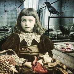 Everbleak Hospital inmate (Flamenco Sun) Tags: raven crow blood macabre horror weird hospital victorian bedlam heart brain