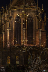 Alsace Christmas - Colmar Cathedral with the Christmas lights (Tony Calvert) Tags: christmas xmas night lights colmar france chur church