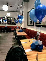 first birthday at Mr. Broadway (PartiLife) Tags: blue white silver lightblue centerpieces megaloons customprint