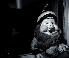 Week 17/52 - Loop Lighting - There's No Face Like Gnome (Mark Curnow Photography) Tags: 52weekphotoproject 52weekproject looplighting portrait face blackandwhite monochrome greyscale htc htconem8 vignette indoorphotography indoors gnome